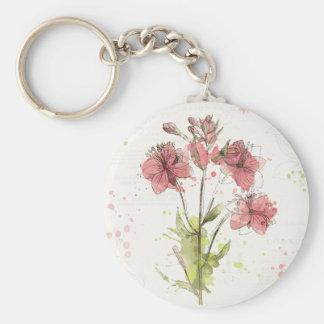 Éclaboussure rose foncée florale porte-clés
