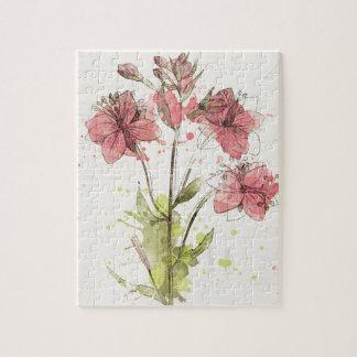 Éclaboussure rose foncée florale puzzle