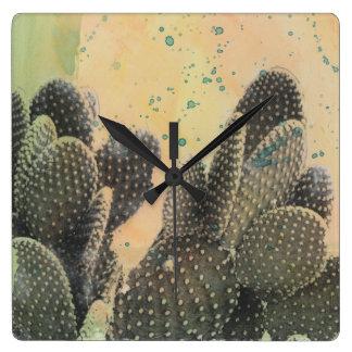 Éclaboussure verte du cactus   de désert horloge carrée