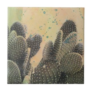 Éclaboussure verte du cactus | de désert petit carreau carré