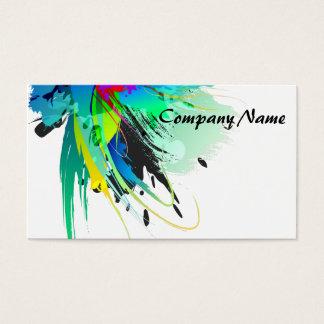 Éclaboussures abstraites de peinture de paon cartes de visite