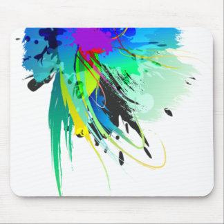 Éclaboussures abstraites de peinture de paon tapis de souris