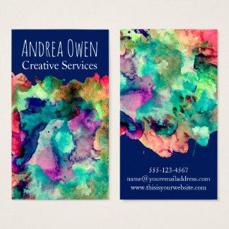 Éclaboussures colorées de peinture d'aquarelle cartes de visite