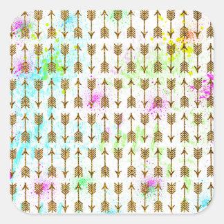 Éclaboussures d'aquarelles de flèches d'effet de sticker carré
