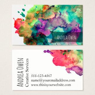 Éclaboussures vives et colorées de peinture cartes de visite