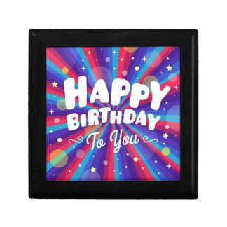 Éclat de couleur pourpre joyeux anniversaire petite boîte à bijoux carrée