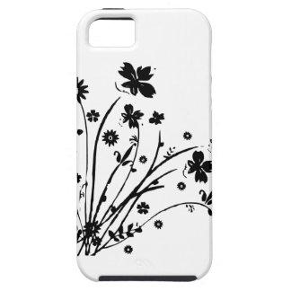 Éclat floral noir et blanc étuis iPhone 5