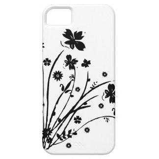 Éclat floral noir et blanc étui iPhone 5