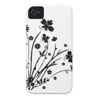 Éclat floral noir et blanc coque Case-Mate iPhone 4