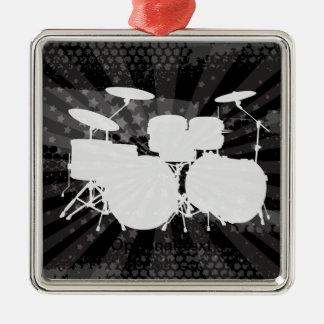 Éclat grunge de noir de tambours ornement carré argenté