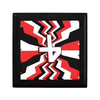 Éclat rouge, noir, et blanc de zigzag imprimé petite boîte à bijoux carrée