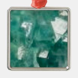 éclat vert des bijoux ornement carré argenté