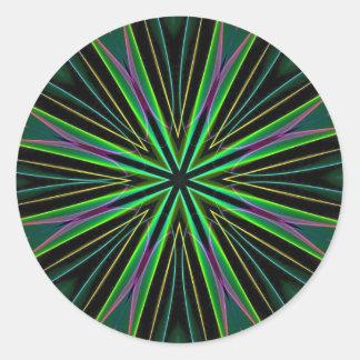 Éclat vert fluorescent au néon d'étoile de lavande sticker rond
