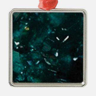 éclat vert-foncé ornement carré argenté