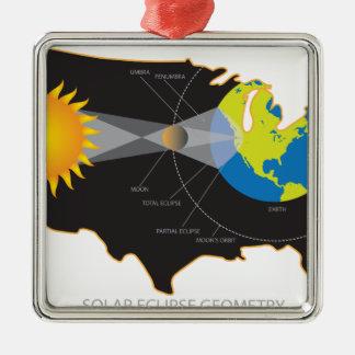 Éclipse 2017 solaire totale à travers la géométrie ornement carré argenté