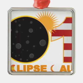 Éclipse 2017 solaire totale au-dessus des ornement carré argenté