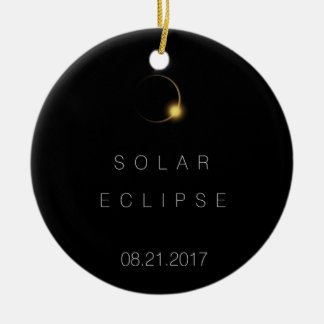 Éclipse 2017 solaire totale ornement rond en céramique