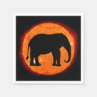 Éclipse solaire de profil d'éléphant serviettes en papier