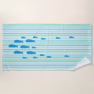 École de bleu et de vert de mer de serviette de