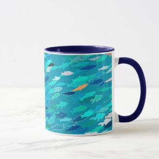 École des poissons, bleu, blanc, turquoise tasses