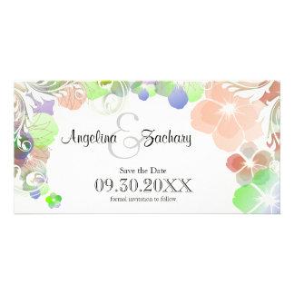 Économie-Le-Date beige et multicolore de pensées Cartes De Vœux Avec Photo