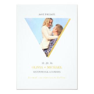Économies abstraites de triangle de feuille d'or carton d'invitation  12,7 cm x 17,78 cm