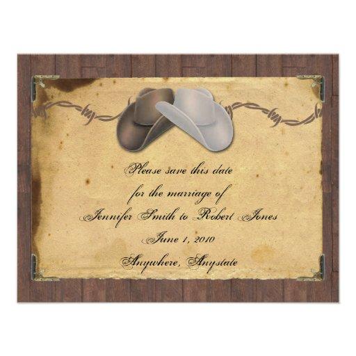 Économies barbelées rustiques de chapeaux de cowbo faire-parts