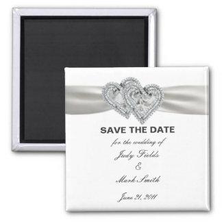 Économies blanches de mariage de coeurs l'aimant magnet carré