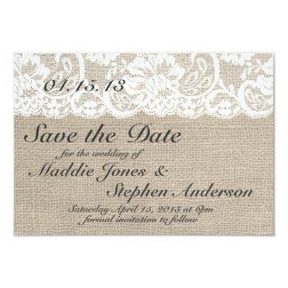 Économies blanches de mariage de dentelle et de carton d'invitation 8,89 cm x 12,70 cm
