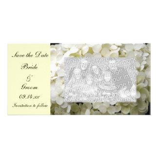 Économies blanches de mariage d'hortensia le carte photocarte personnalisée