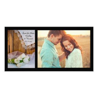 Économies blanches rustiques de mariage de grange carte avec photo