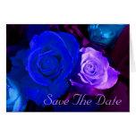 Économies bleues de rose de pourpre la date cartes de vœux