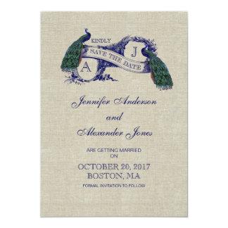 Économies bleues de toile de paon la carte de date invitations