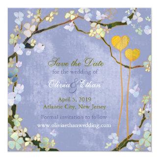 Économies bleues rustiques de mariage de hanche de carton d'invitation  13,33 cm