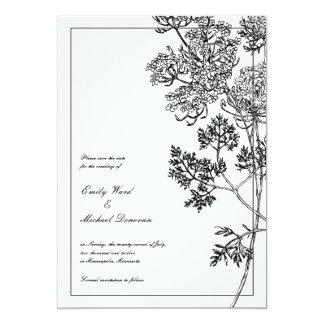 Économies botaniques blanches noires carton d'invitation  12,7 cm x 17,78 cm