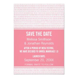 Économies chics de binaire de geek l'invitation de carton d'invitation  12,7 cm x 17,78 cm