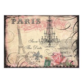 Économies chics de Tour Eiffel et de lustre la dat Invitation Personnalisée