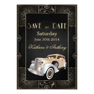Économies classiques vintages de style de Gatsby Carton D'invitation 12,7 Cm X 17,78 Cm