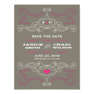 Économies d'affiche de rock (rose/étain) la date carton d'invitation 10,79 cm x 13,97 cm
