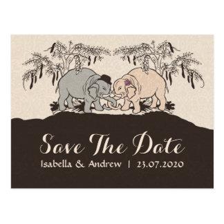 Économies d'amour d'éléphant la date cartes postales