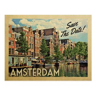 Économies d'Amsterdam la date Pays-Bas Hollande Carte Postale