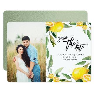 Économies d'aquarelle de citron la date avec la carton d'invitation  12,7 cm x 17,78 cm