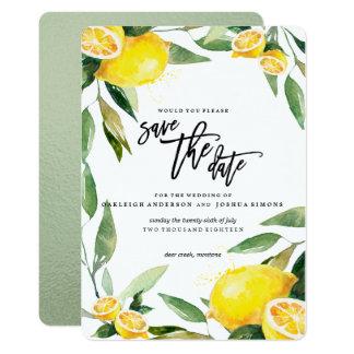 Économies d'aquarelle de citron la date carton d'invitation  12,7 cm x 17,78 cm