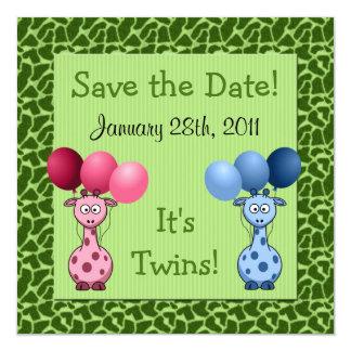 Économies de baby shower de jumeaux fraternels de carton d'invitation  13,33 cm