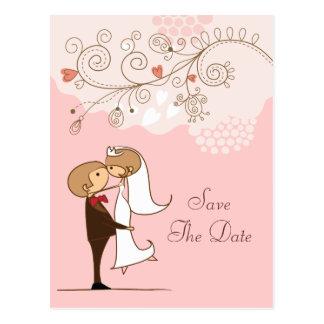 Économies de baiser mignonnes de jeune mariée et d cartes postales