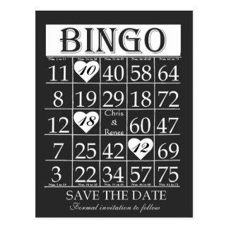 Économies de bingo-test carte postale noire et