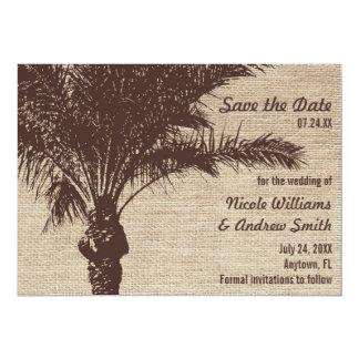 Économies de Brown de palmier de toile de jute le Carton D'invitation 12,7 Cm X 17,78 Cm