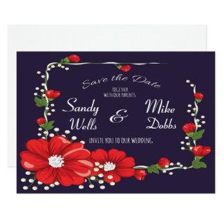 Économies de cadre de fleur la date carton d'invitation  12,7 cm x 17,78 cm