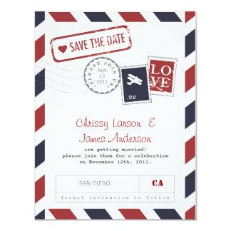 Économies de carte de par avion la date carton d'invitation 10,79 cm x 13,97 cm