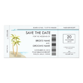Économies de carte d'embarquement de palmier les carton d'invitation  10,16 cm x 23,49 cm